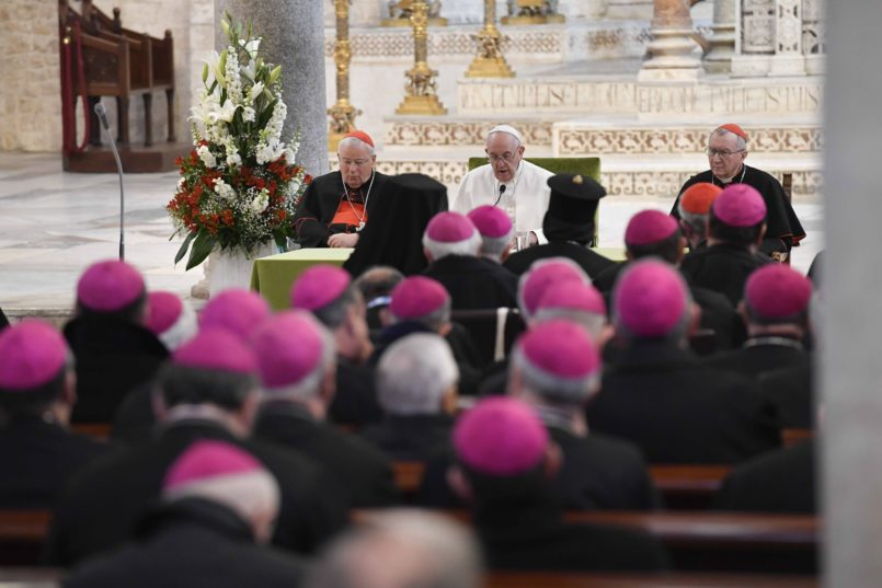 NO FRANCE - NO SWITZERLAND: February 23, 2020 : Pope Francis meets bishops at the Basilica of Saint Nicholas in the southern Italian coastal city of Bari, Italy   EDITORIAL USE ONLY. NOT FOR SALE FOR MARKETING   OR ADVERTISING CAMPAIGNS. /IPA/PIXSELLPhoto: IPA/PIXSELL