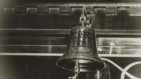 grayscale photography of Titanic 1912 bell